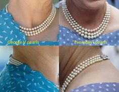 """The difference between the George V pearls and the pearls HM Queen Elizabeth II wears almost everyday. The first necklace is a gift from her grandfather king George V on his silver jubilee in 1925. It has a ruby clasp and the pearls are smaller and not graduated. The """"everyday""""  necklace was made after the Queen's accession with family pearls. It has a diamon clasp and the pearls are graduated."""