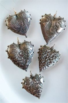 http://www.pinterest.com/joliesarts ∗  ♕Simply Divine Silver Hearts