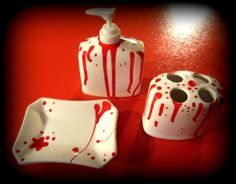 About Last Night Hand Painted Bloodied by DoctorStrychnine on Etsy, $15.00