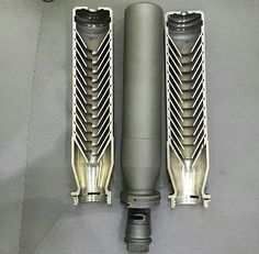 Sig Sauer 762Ti QD Sound Suppressor (Silencer) exposing the baffles used to slow down the gasses. [750 × 736] - Imgur