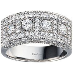 White Sapphire Vintage Filigree Millgrained Anniversary Band set in Sterling Silver (1.01 Ct. Twt.) TwoBirch http://www.amazon.com/dp/B00XWN4R6U/ref=cm_sw_r_pi_dp_5jHOvb07WEJTX