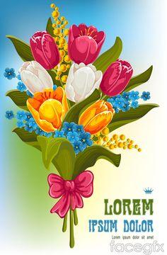 Rose bouquet card vector