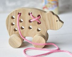 Christmas Gift Wooden Lacing Toy Pull Natural Wood bear