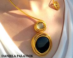 Gold statement necklace Turquoise stones от danielapalatnik