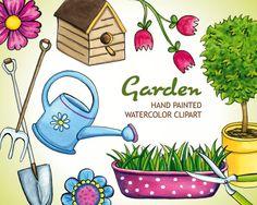 Garden Watercolor Clip Art Set, Scrapbooking Hand Painted Clipart, Spring DIY Gardening Tools, Colorful Birdhouse Flower Tree Elements by NopiArtStudio on Etsy