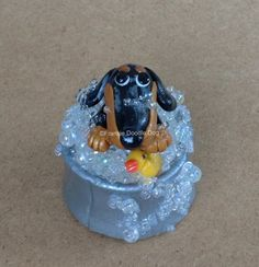 Frankie Doodle Dog 1 808 Bubble Bath Clay Dachshund Sculpture | eBay ($26.00 bid)