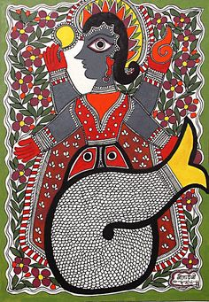 Matsya Avatar - Vishnu's Incarnation as Fish (Madhubani Folk Art on Paper - Unframed)