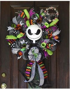 Love the mix of colours. Jack Skellington Wreath Halloween Wreath by VirgiesTreasures Disney Halloween, Spooky Halloween, Holidays Halloween, Halloween Crafts, Happy Halloween, Halloween Decorations, Halloween Wreaths, Fall Crafts, Holiday Crafts