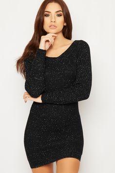 Dolly Lurex Off Shoulder Cable Knit Jumper Dress
