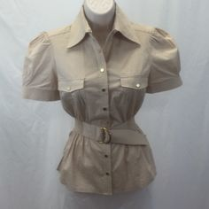 Safari chic BEBE snap up too small Safari style snap up top by BEBE. Size small, and wayyyy cute! Gold snaps, decorative belt, cinched elastic waist. What's not to love?! No holes or stains, some minor wear to snaps from washing. Stitching is coming apart a little by the sleeves, but it's still down together from the inside, so no holes.PayPal trades.                               #705-26 bebe Tops Button Down Shirts
