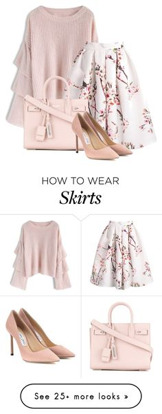 """""""Cherry Blossom !"""" by lindsaysaint on Polyvore featuring Chicwish, Yves Saint Laurent and Jimmy Choo"""