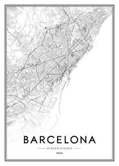 Poster Barcelona no grupo Impressões / Mapas e cidades em Desenio AB Poster Shop, City Map Poster, Close Up Poster, Photo Pop Art, Carte New York, Poster 70x100, Plan Ville, Amsterdam Map, Blond Amsterdam