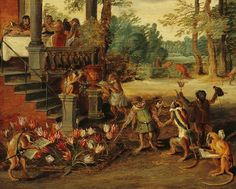 On Holland's legendary tulip bubble, which burst February 3, 1637. Detail from Jan Brueghel the Younger's Satire on Tulip Mania, 1640