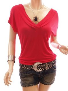 Patty Women Lovely V-Neck Gather Cap Short Sleeve Casual Blouse Top Patty. $28.99