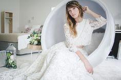 Two piece lace wedding dress