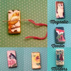 Handmade Magnetic Needle minders Many more designs available in my shop A Needle minder is magnetic so when you rest your needles on it they will stay in place when your having a break from your needle work #crossstitch #crosstitch #sewing #sew