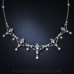 Edwardian Diamond and Pearl Necklace - 90-1-4654 - Lang Antiques