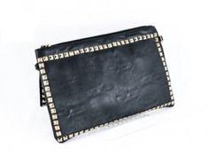 £12 Black Clutch Bags, Gold Studs, Zip Around Wallet, Fashion Accessories, Detail, Womens Fashion, Women's Clothes, Woman Fashion, Fashion Women