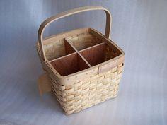 Wicker 6 Bottle Carrier Basket Buff White Washed Double Steamed Wine Kitchen