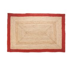 B270 Jute Braid Rug with Red Border- 5x7 ft