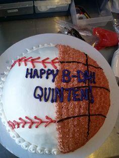 Half Baseball Basketball Cake Ben Jerrys