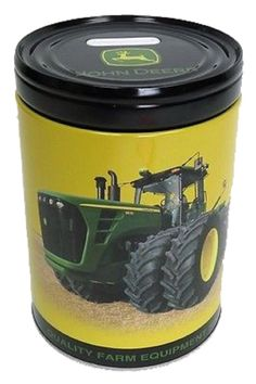 John Deere Lock Top Tall Round Tin-Colletible black
