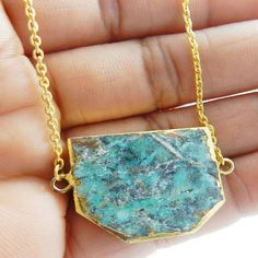 Gold Electroplated brass long chain Sonora Cuprite gemstone new pendant necklace #Handmade #Chain