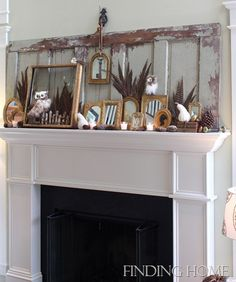 Fall winter mantle old door and gilded mirrors Mike and Jack, Fall mantel 211