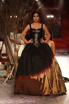 Monisha Jaising at India Couture Week 2014 - leather top with flared ballroom lehnga