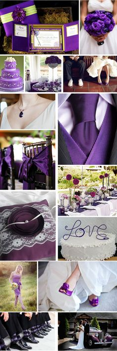 Navy tuxes with the purple would look nice with grooms military attire. Then purple & yellow in the flower colors would look really good.
