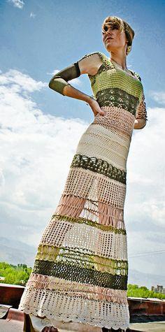 Sexy boho largo de punto vestido en tonos tierra por OneEightOne