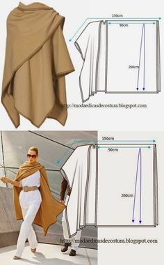 шитьё Güzel bir sonbahar panço - hafif ve basit desenler Poncho Pattern Sewing, Dress Sewing Patterns, Clothing Patterns, Poncho Patterns, Fashion Sewing, Diy Fashion, Ideias Fashion, Fashion Outfits, Sewing Clothes