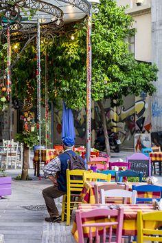 ~Taverna in Thessaloniki, Greece~. Thessaloniki, Santorini Greece, Athens Greece, Beautiful Islands, Beautiful Places, Outside Seating Area, Zorba The Greek, Paradise On Earth, Mediterranean Style
