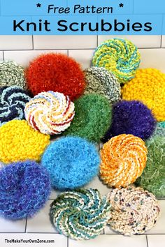 Round Knit Scrubby Pattern Scrubbies Crochet Pattern, Knitted Dishcloth Patterns Free, Knitted Washcloths, Knit Dishcloth, Easy Knitting Patterns, Free Knitting, Crochet Patterns, Loom Patterns, Knitting Needles