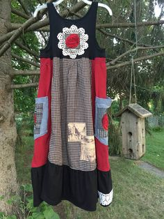 RESERVED Upcycled Cowgirl Chic Dress Patchwork Rodeo