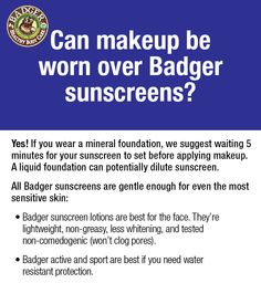Yes! #Badger sunscreens can be worn under mineral #makeup.