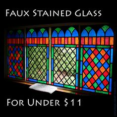 DYI Faux Stained Glass - Super Easy. This technique uses electrical tape and acrylic paint directly on the windows... I think I'd rather do this on something to attach to the window... imagine scraping all that paint off afterwards... possibly use tissue paper instead of paint