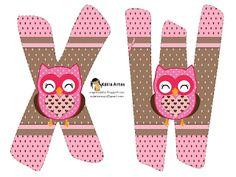 Alfabeto de búhos en tonos rosa. - Oh my Alfabetos!