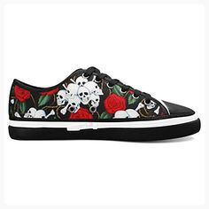 D-Story Custom Red Rose And Skull Women's Nonslip Canvas Shoes Fashion Sneaker (*Partner Link)