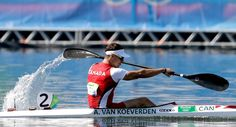 Canada's Adam Van Koeverden paddles during the men's kayak single 1000m heat during the 2016 Summer Olympics in Rio de Janeiro, Brazil, Monday, Aug. 15, 2016. (AP Photo/Luca Bruno)