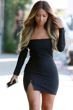 Sexy Off Shoulder Slash Neck Zipper Slit Long Sleeve Party Bodycon Dress