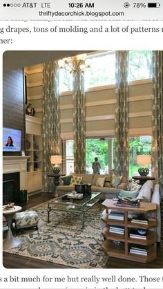Found via thrifty decor chic - model Home in Indiana.  My home has this same layout with open high great room and love the possibilities but this is too busy but great ideas.