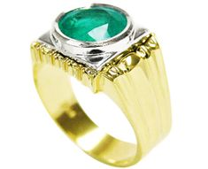 14K yellow & white gold men's emerald ring