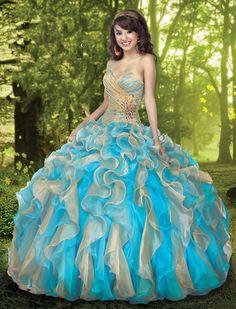... dresses  Robe de mariée ou princesse or et bleu en taffetas More