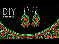 ▶ DIY Macrame Earrings with Diamonds and Beads - YouTube