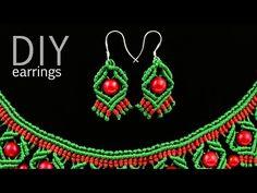 ▶ DIY Macrame Earrings with Diamonds and Beads - YouTube