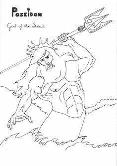 Poseidon by LilaTelrunya coloring page Greek God mythology Unit study Greek Gods And Goddesses, Greek And Roman Mythology, Poseidon Drawing, Coloring Books, Coloring Pages, Greek Crafts, Greek History, New Gods, Greek Art