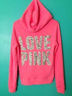 NWT Victoria's Secret PINK Bling Love Dog Neon Sequins Hoodie Sweatshirt Sz XS