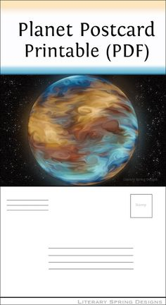 This planet postcard is the perfect way to surprise your family and friends with a postcard at any time during the year. The planet is a fictional gas giant and is inspired by Jupiter.