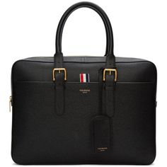 Thom Browne Black Business Briefcase (157.155 RUB) ❤ liked on Polyvore featuring men's fashion, men's bags, men's briefcases, black and mens leather briefcase
